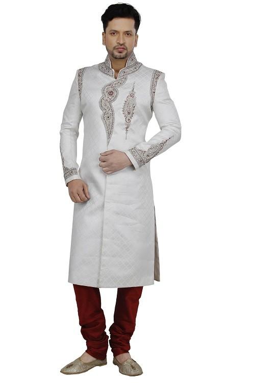man-sherwani-white tanchui silk