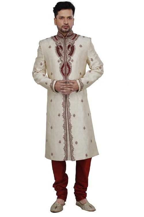 man-sherwani-gold Jacquard silk